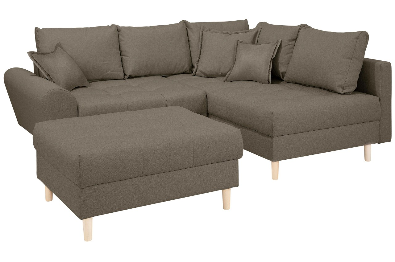 Collection AB Ecksofa XL Rice   mit Hocker - Braun