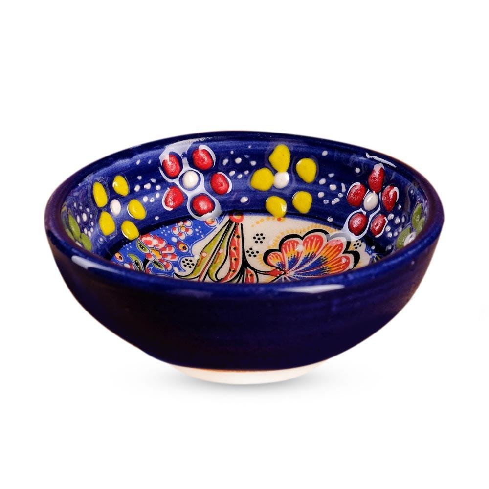 Schale mittel - Sonderrelief, blau, Türkische Keramik, 60 ml, Ø 8 cm