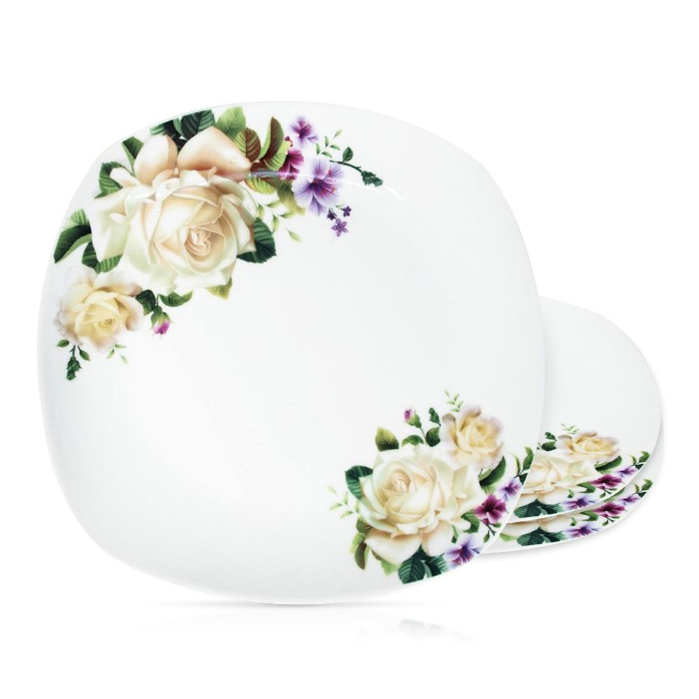 Tellerset - Weiße Rosen, Keramik, Ø 26 cm, 3 Stk.